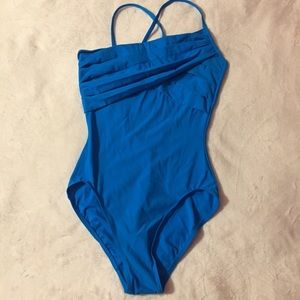 Bright Blue Leotard with Lots of Detail. Size LA.